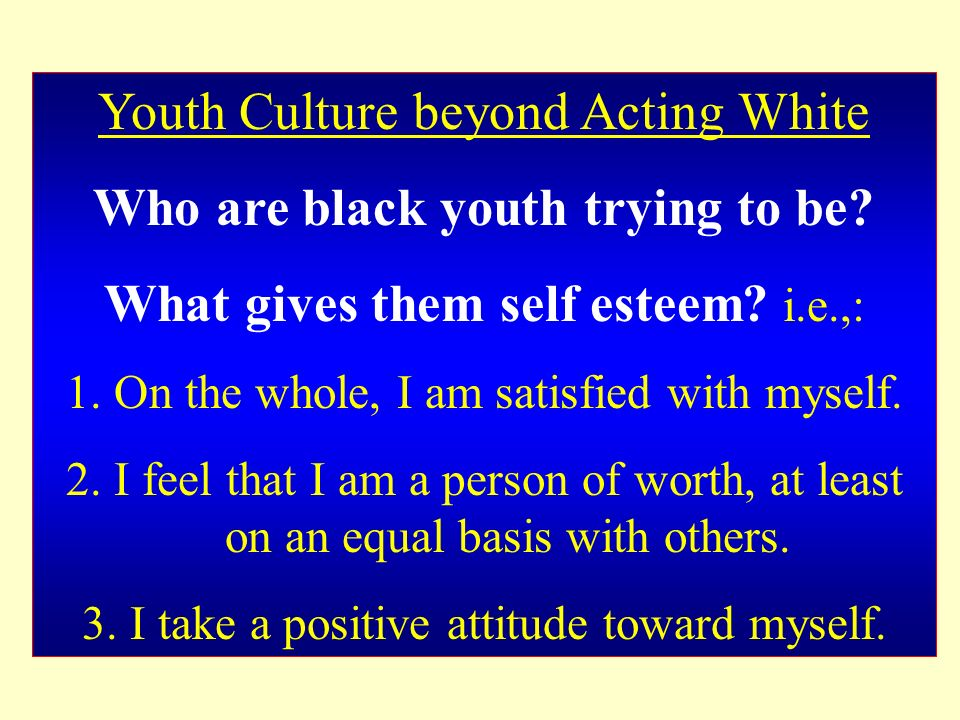 Youth Culture beyond Acting White Who are black youth trying to be? What gives them self esteem? i.e.,: 1.On the whole, I am satisfied with myself. 2.