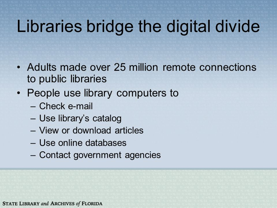 Libraries bridge the digital divide Adults made over 25 million remote connections to public libraries People use library computers to –Check e-mail –Use librarys catalog –View or download articles –Use online databases –Contact government agencies