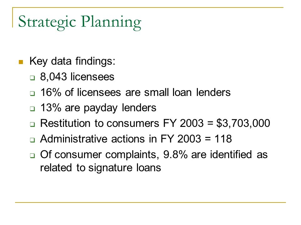 Strategic Planning Key data findings: 8,043 licensees 16% of licensees are small loan lenders 13% are payday lenders Restitution to consumers FY 2003 = $3,703,000 Administrative actions in FY 2003 = 118 Of consumer complaints, 9.8% are identified as related to signature loans