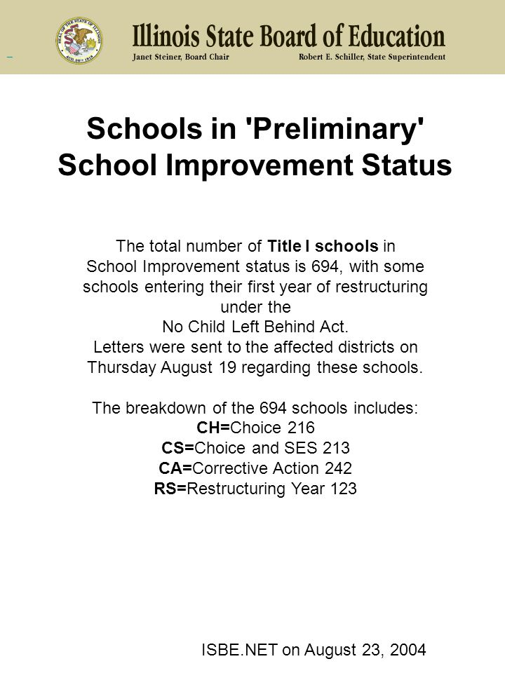 Schools in Preliminary School Improvement Status The total number of Title I schools in School Improvement status is 694, with some schools entering their first year of restructuring under the No Child Left Behind Act.