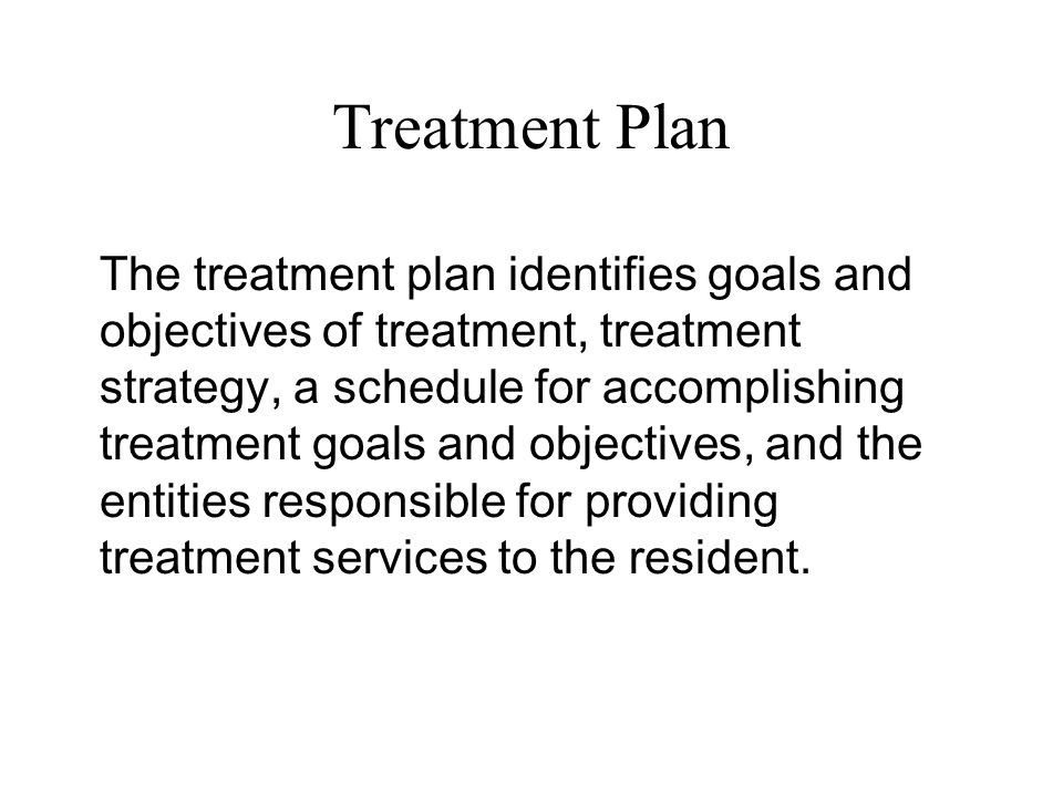 Treatment Plan The treatment plan identifies goals and objectives of treatment, treatment strategy, a schedule for accomplishing treatment goals and o
