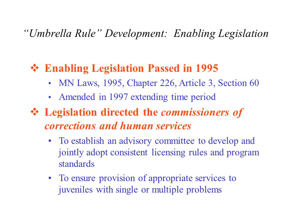 Umbrella Rule Development: Enabling Legislation Enabling Legislation Passed in 1995 MN Laws, 1995, Chapter 226, Article 3, Section 60 Amended in 1997 extending time period Legislation directed the commissioners of corrections and human services To establish an advisory committee to develop and jointly adopt consistent licensing rules and program standards To ensure provision of appropriate services to juveniles with single or multiple problems