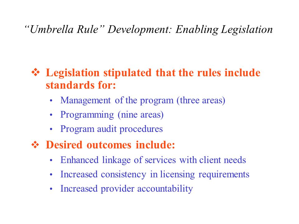 Umbrella Rule Development: Enabling Legislation Legislation stipulated that the rules include standards for: Management of the program (three areas) Programming (nine areas) Program audit procedures Desired outcomes include: Enhanced linkage of services with client needs Increased consistency in licensing requirements Increased provider accountability
