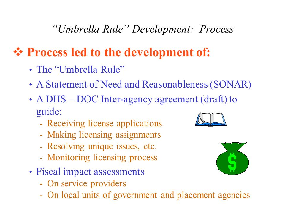Umbrella Rule Development: Process Process led to the development of: The Umbrella Rule A Statement of Need and Reasonableness (SONAR) A DHS – DOC Inter-agency agreement (draft) to guide: - Receiving license applications - Making licensing assignments - Resolving unique issues, etc.