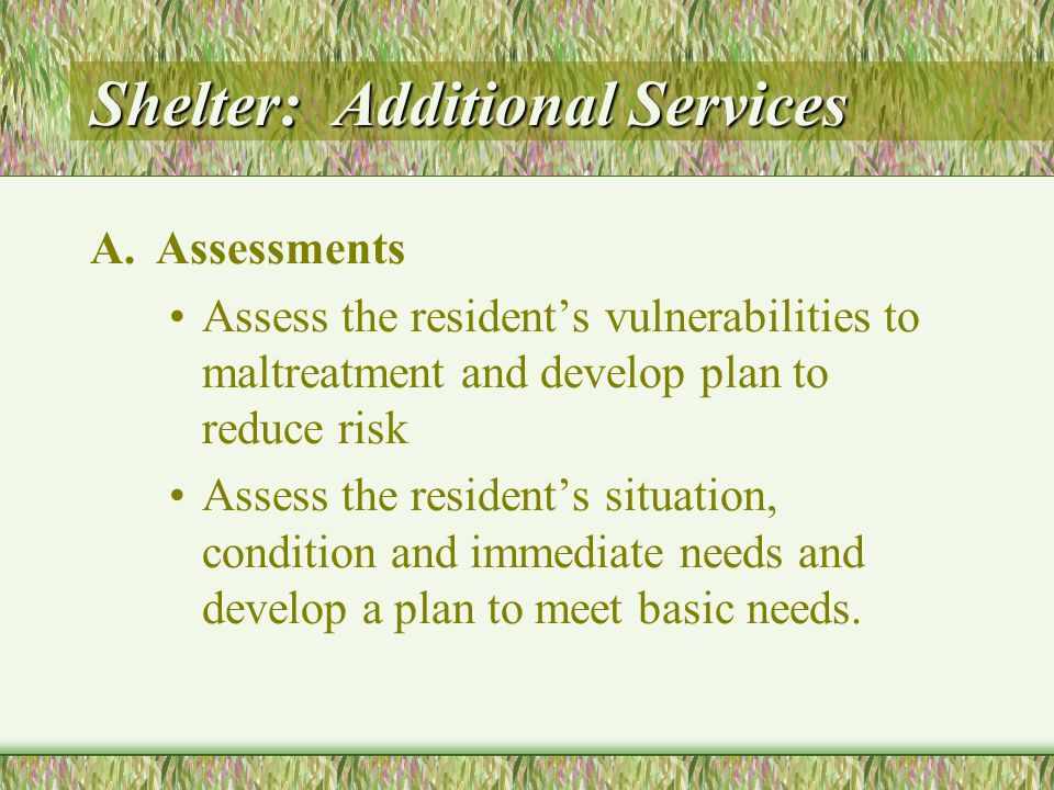 Shelter: Additional Services A.Assessments Assess the residents vulnerabilities to maltreatment and develop plan to reduce risk Assess the residents situation, condition and immediate needs and develop a plan to meet basic needs.