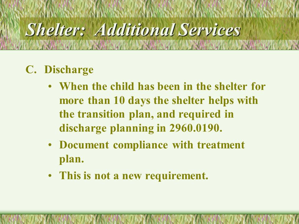 Shelter: Additional Services C.Discharge When the child has been in the shelter for more than 10 days the shelter helps with the transition plan, and required in discharge planning in 2960.0190.
