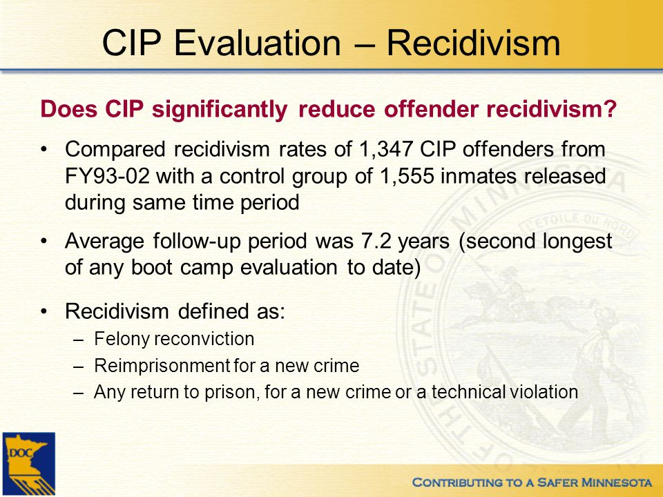 CIP Evaluation – Recidivism Does CIP significantly reduce offender recidivism? Compared recidivism rates of 1,347 CIP offenders from FY93-02 with a co