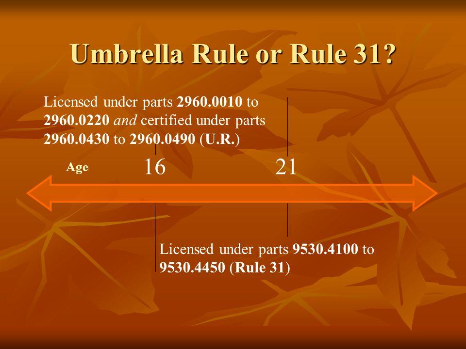 Umbrella Rule or Rule 31? Age Licensed under parts 2960.0010 to 2960.0220 and certified under parts 2960.0430 to 2960.0490 (U.R.) 1621 Licensed under