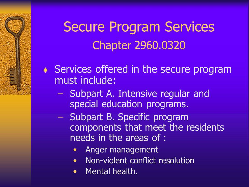 Security Policies & Procedures 2960.0360 Subpart 1 If a facility offers correctional program services, the following security P & Ps are required: –Control and recovery of contraband, –Delivery and service procedures, –Prohibition of firearms, weapons in resident areas, –Measures to ensure that weapons are inaccessible to residents.