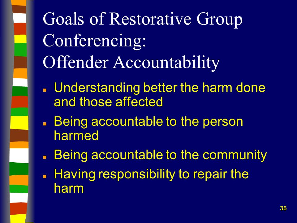 35 Goals of Restorative Group Conferencing: Offender Accountability n Understanding better the harm done and those affected n Being accountable to the