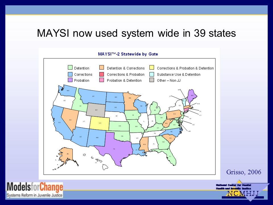 MAYSI now used system wide in 39 states Grisso, 2006