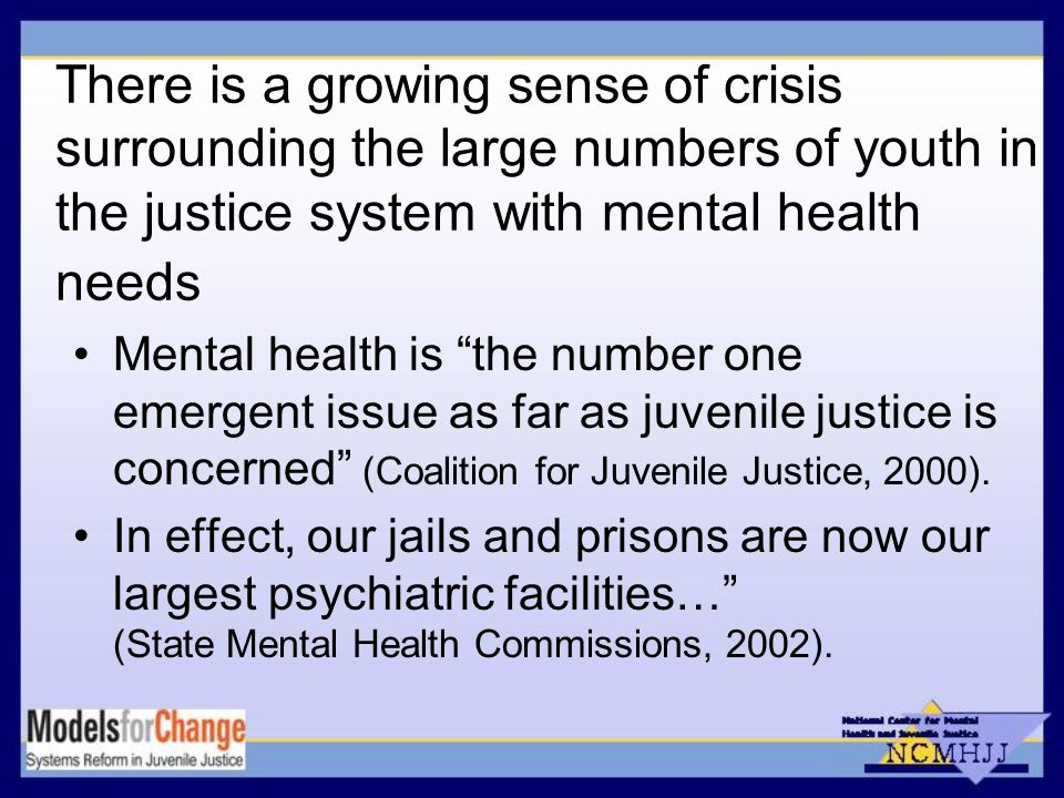 There is a growing sense of crisis surrounding the large numbers of youth in the justice system with mental health needs Mental health is the number one emergent issue as far as juvenile justice is concerned (Coalition for Juvenile Justice, 2000).