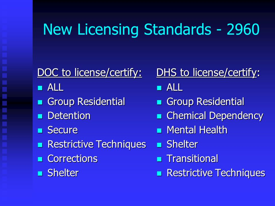 New Licensing Standards - 2960 DOC to license/certify: ALL ALL Group Residential Group Residential Detention Detention Secure Secure Restrictive Techn
