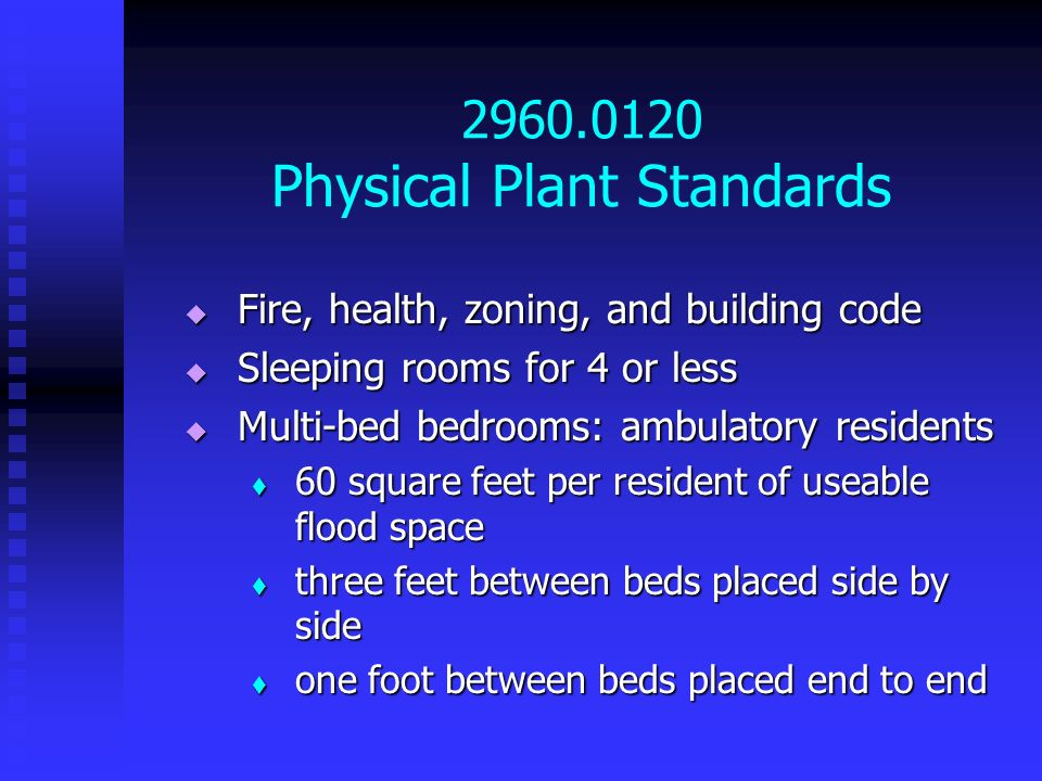 2960.0120 Physical Plant Standards Fire, health, zoning, and building code Fire, health, zoning, and building code Sleeping rooms for 4 or less Sleepi
