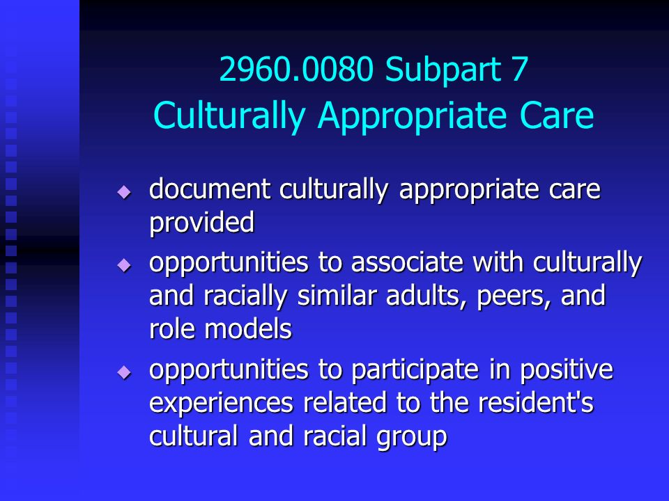 2960.0080 Subpart 7 Culturally Appropriate Care document culturally appropriate care provided document culturally appropriate care provided opportunit