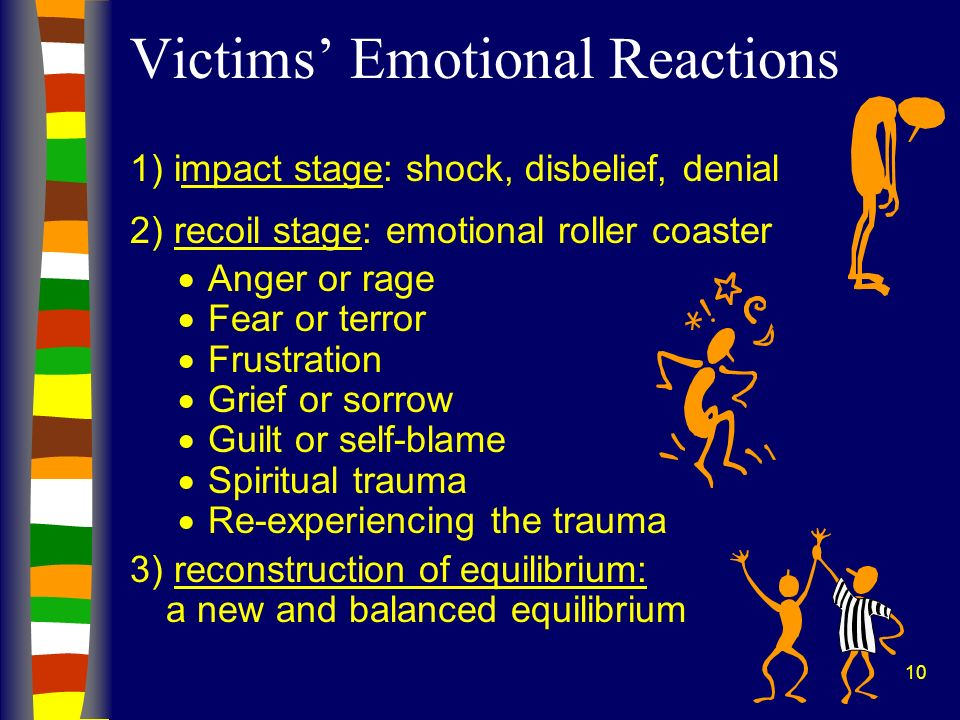 10 1) impact stage: shock, disbelief, denial 2) recoil stage: emotional roller coaster Anger or rage Fear or terror Frustration Grief or sorrow Guilt or self-blame Spiritual trauma Re-experiencing the trauma 3) reconstruction of equilibrium: a new and balanced equilibrium Victims Emotional Reactions