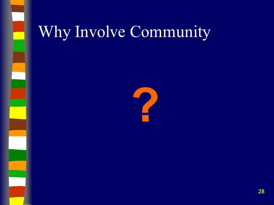28 Why Involve Community ?