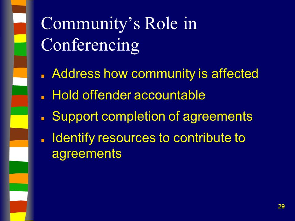 29 Communitys Role in Conferencing n Address how community is affected n Hold offender accountable n Support completion of agreements n Identify resources to contribute to agreements