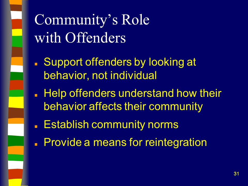 31 Communitys Role with Offenders n Support offenders by looking at behavior, not individual n Help offenders understand how their behavior affects their community n Establish community norms n Provide a means for reintegration