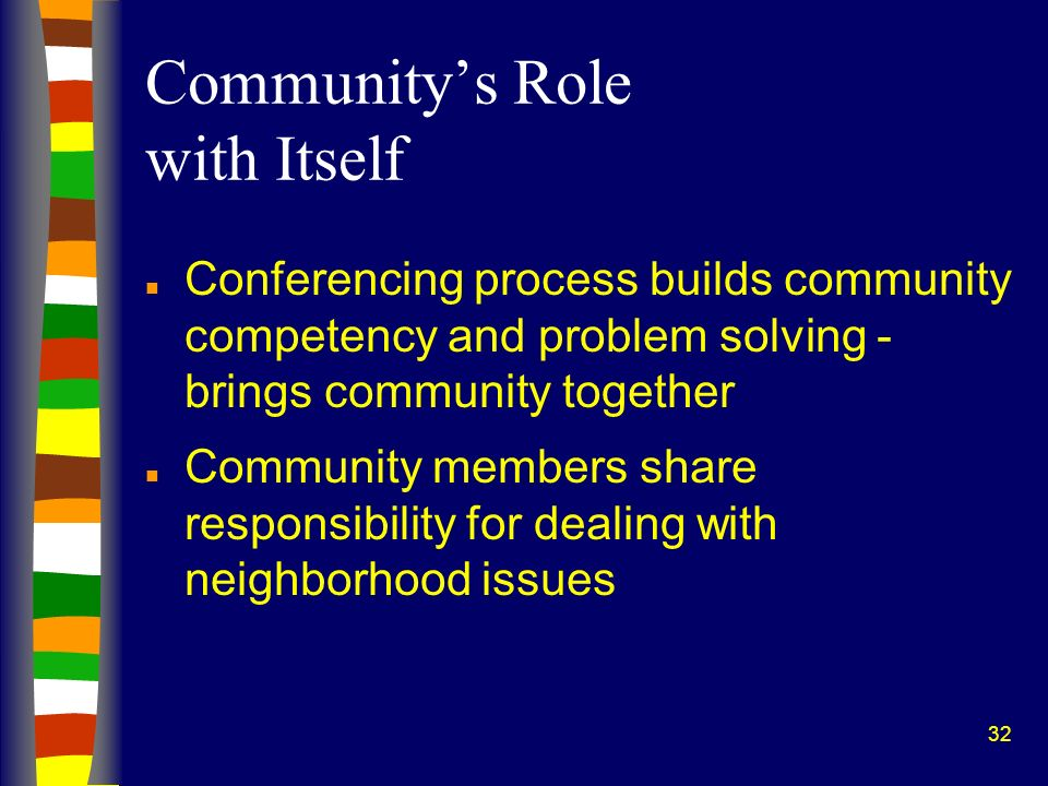 32 Communitys Role with Itself n Conferencing process builds community competency and problem solving - brings community together n Community members share responsibility for dealing with neighborhood issues