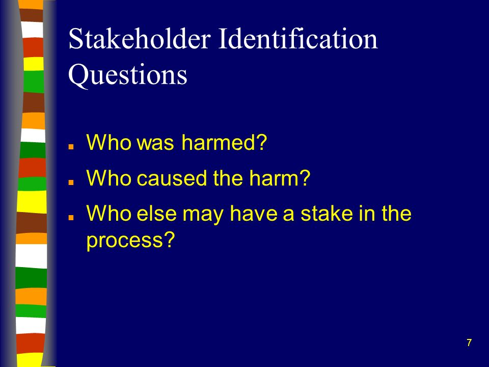 7 Stakeholder Identification Questions n Who was harmed.