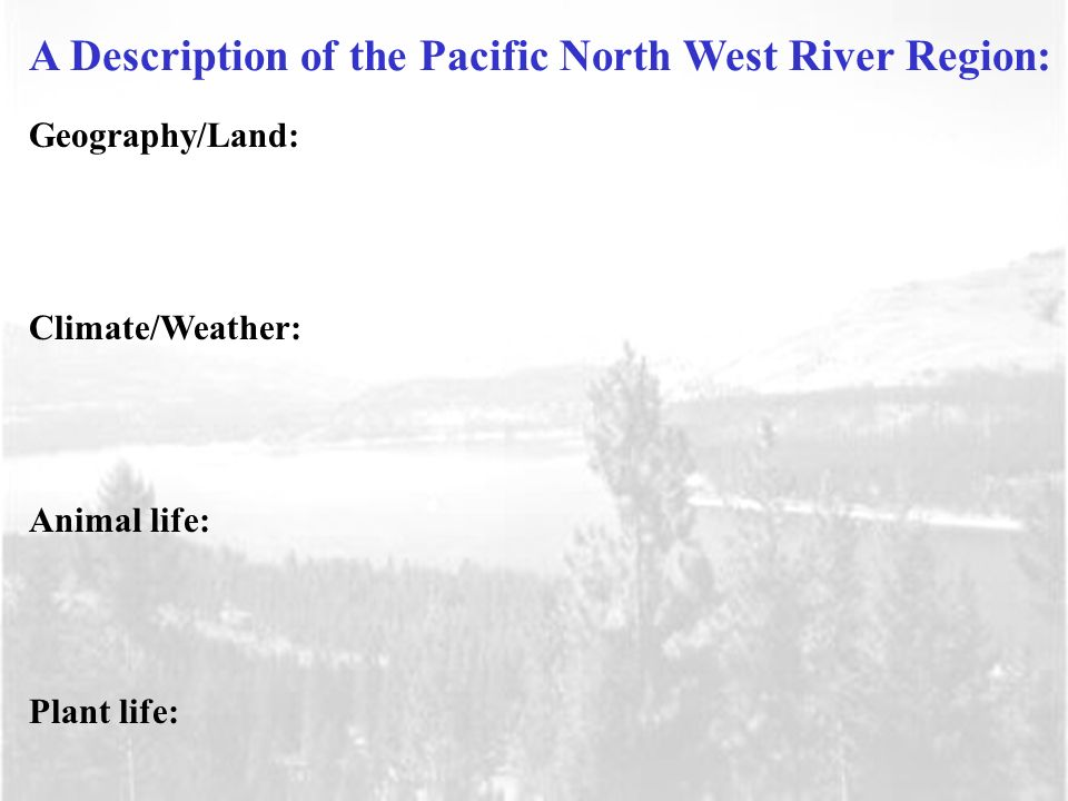 Geography/Land: Climate/Weather: Animal life: Plant life: A Description of the Pacific North West River Region: