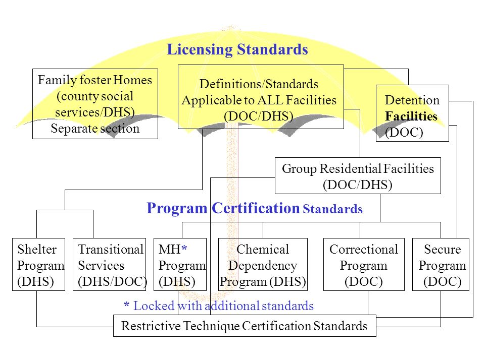 Children s Residential Facilities Rule Development Process Led to the Development of The Children s Residential Facilities Rule Statement of Need and Reasonableness (SONAR) DHS – DOC Interagency Agreement to guide: License and certification process Negative action protocol Interagency communication License data and data collection