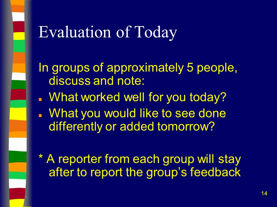 14 Evaluation of Today In groups of approximately 5 people, discuss and note: n What worked well for you today? n What you would like to see done diff