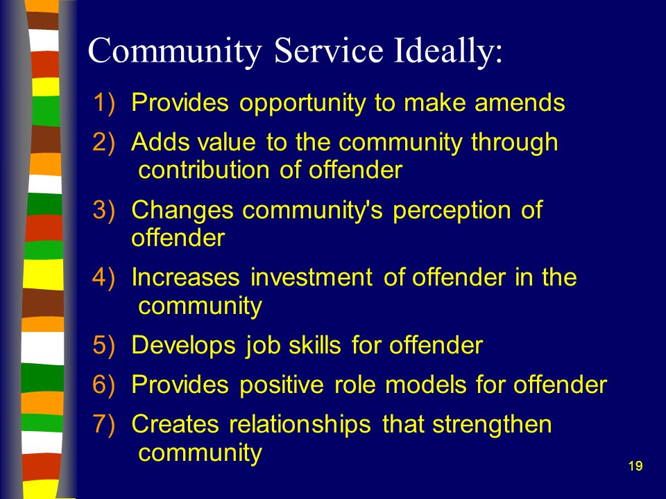 19 Community Service Ideally: 1)Provides opportunity to make amends 2)Adds value to the community through contribution of offender 3)Changes community s perception of offender 4)Increases investment of offender in the community 5)Develops job skills for offender 6)Provides positive role models for offender 7)Creates relationships that strengthen community