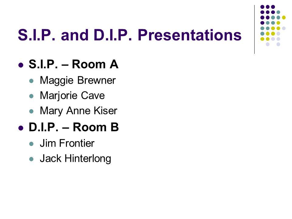 S.I.P. and D.I.P. Presentations S.I.P. – Room A Maggie Brewner Marjorie Cave Mary Anne Kiser D.I.P. – Room B Jim Frontier Jack Hinterlong