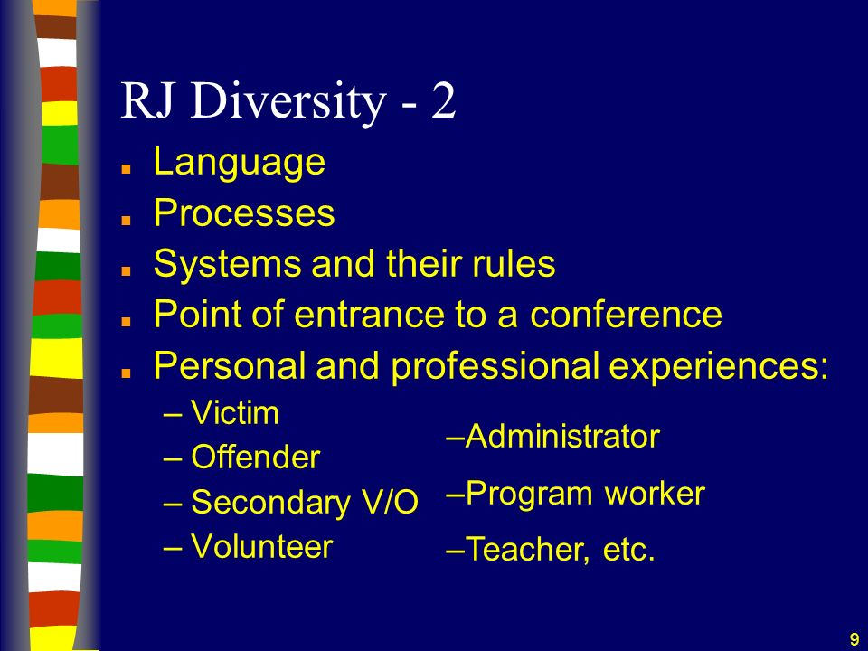 10 RJ Diversity - 3 n Facilitated 2 or more group conferences n Facilitated 2 or more victim/offender dialogues, circles, or other restorative processes n Participated in at least 1 victim/offender dialogue, group conference, circle, or other restorative process