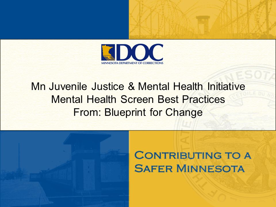 Mn Juvenile Justice & Mental Health Initiative Mental Health Screen Best Practices From: Blueprint for Change