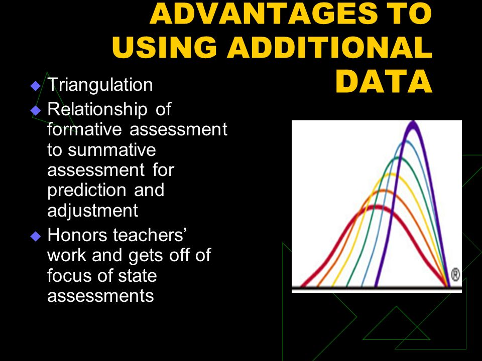 ADVANTAGES TO USING ADDITIONAL DATA Triangulation Relationship of formative assessment to summative assessment for prediction and adjustment Honors teachers work and gets off of focus of state assessments