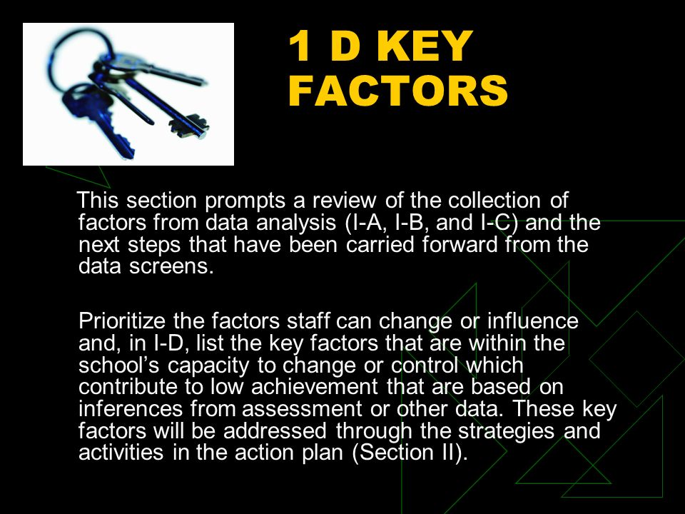 1 D KEY FACTORS This section prompts a review of the collection of factors from data analysis (I-A, I-B, and I-C) and the next steps that have been carried forward from the data screens.