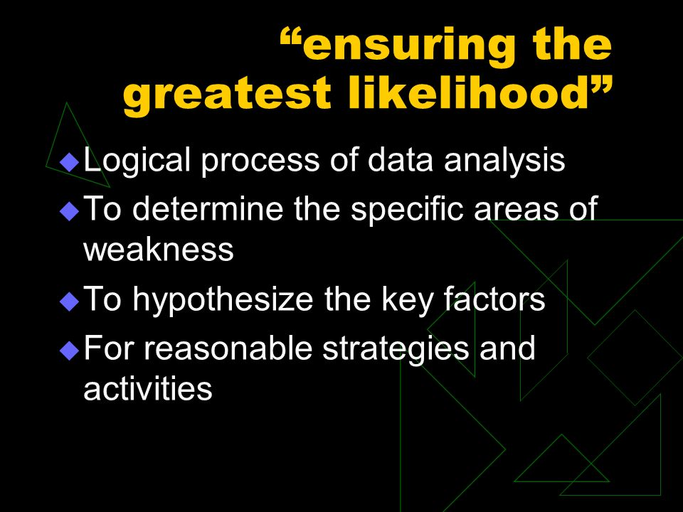 ensuring the greatest likelihood Logical process of data analysis To determine the specific areas of weakness To hypothesize the key factors For reasonable strategies and activities
