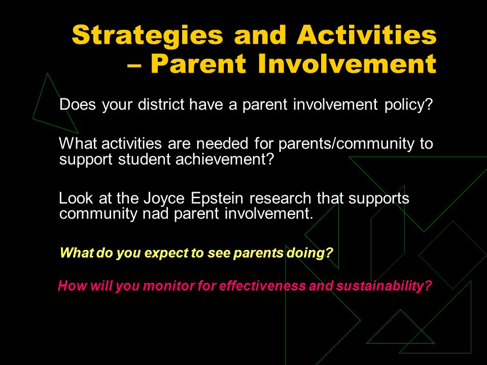Strategies and Activities – Parent Involvement Does your district have a parent involvement policy.