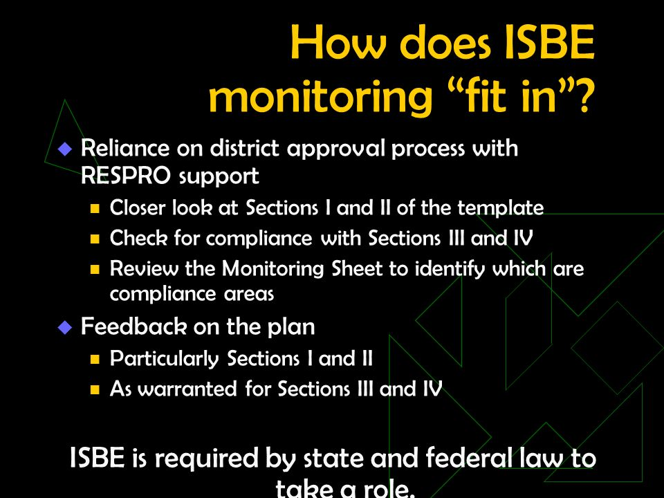 How does ISBE monitoring fit in.