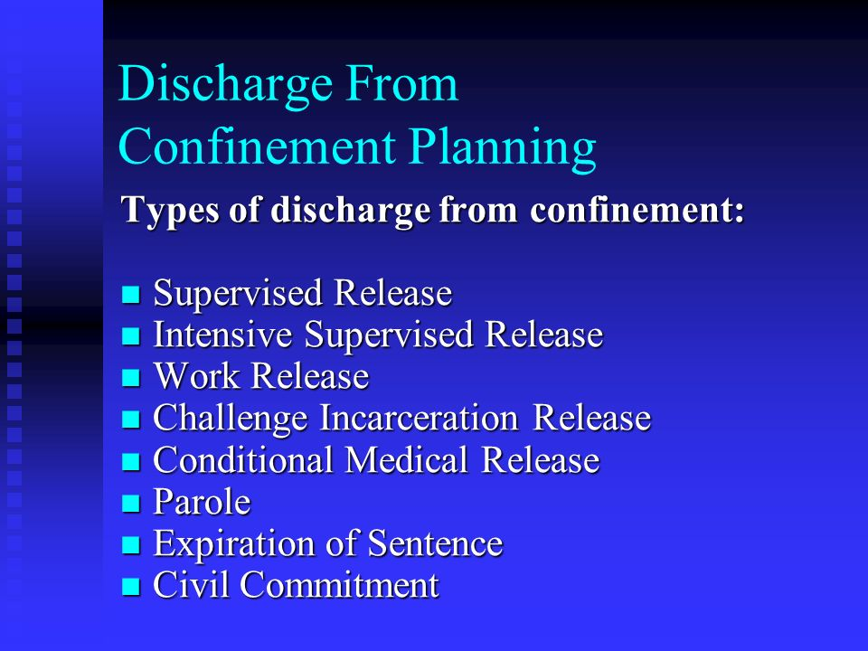 Discharge From Confinement Planning Types of discharge from confinement: Supervised Release Supervised Release Intensive Supervised Release Intensive