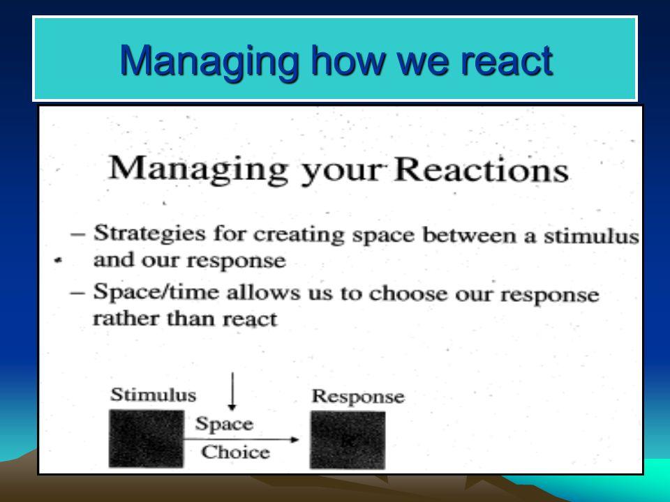 Managing how we react