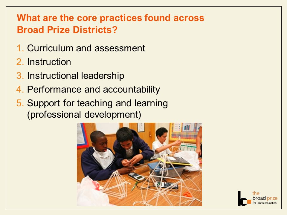 What are the core practices found across Broad Prize Districts? 1.Curriculum and assessment 2.Instruction 3.Instructional leadership 4.Performance and