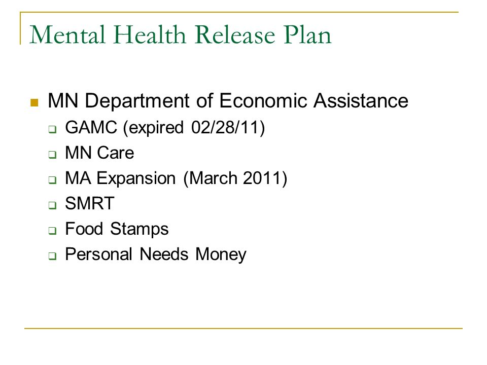 Mental Health Release Plan MN Department of Economic Assistance GAMC (expired 02/28/11) MN Care MA Expansion (March 2011) SMRT Food Stamps Personal Ne