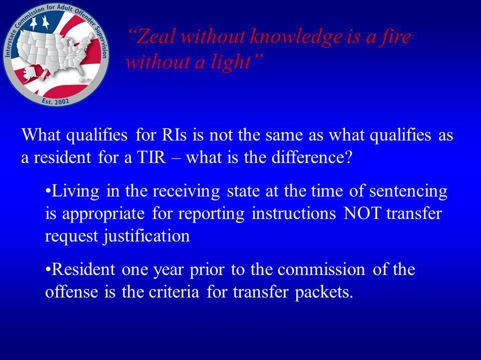 What qualifies for RIs is not the same as what qualifies as a resident for a TIR – what is the difference.
