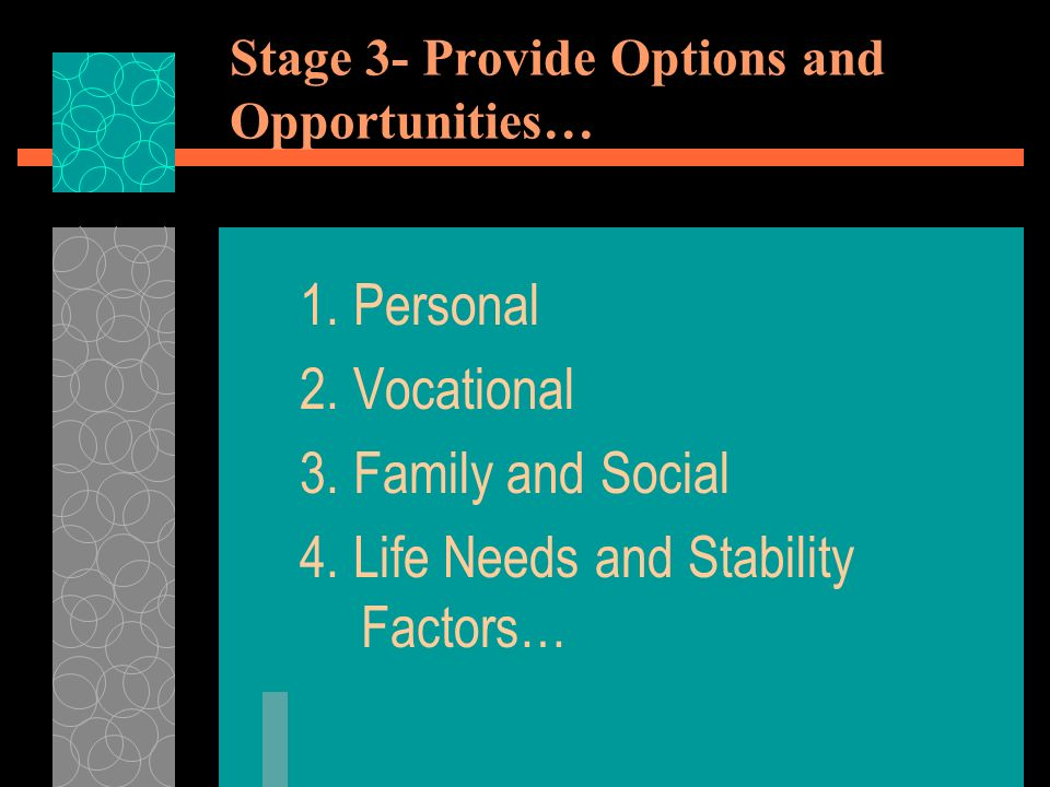 Stage 3- Provide Options and Opportunities… 1. Personal 2.