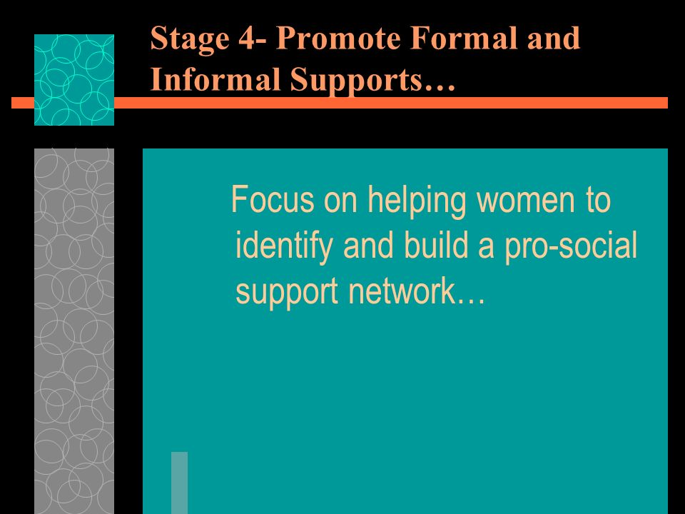 Stage 4- Promote Formal and Informal Supports… Focus on helping women to identify and build a pro-social support network…