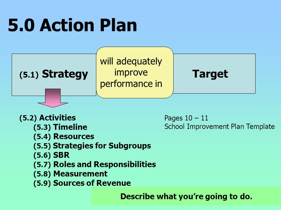 5.0 Action Plan (5.1) Strategy will adequately improve performance in Target (5.2) Activities (5.3) Timeline (5.4) Resources (5.5) Strategies for Subg