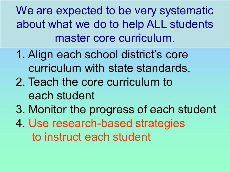 We are expected to be very systematic about what we do to help ALL students master core curriculum.