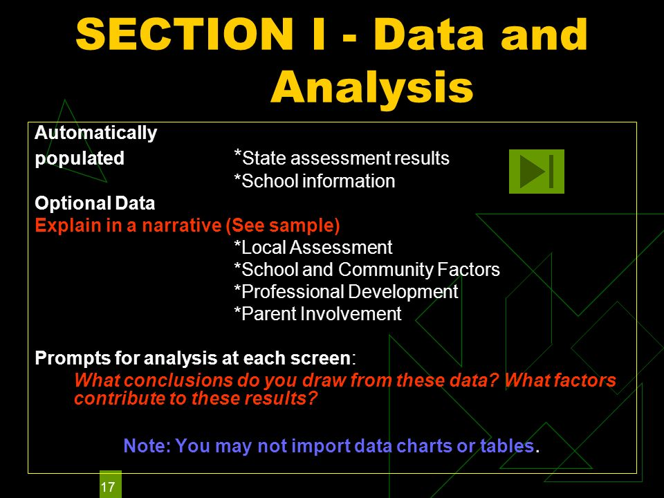 17 SECTION I - Data and Analysis Automatically populated * State assessment results *School information Optional Data Explain in a narrative (See sample) *Local Assessment *School and Community Factors *Professional Development *Parent Involvement Prompts for analysis at each screen: What conclusions do you draw from these data.