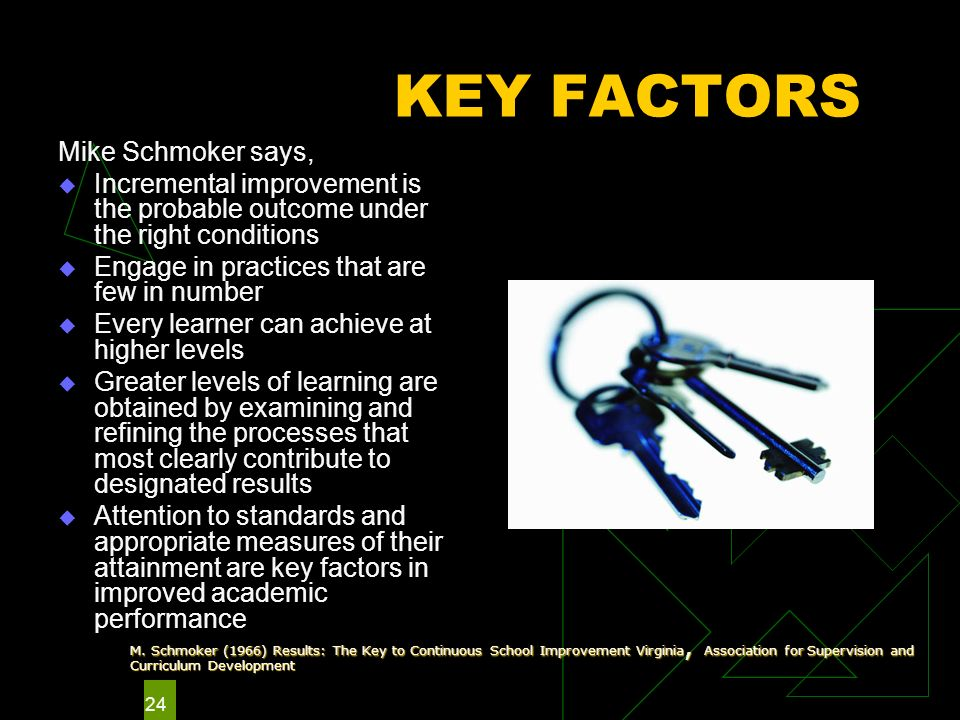 24 KEY FACTORS Mike Schmoker says, Incremental improvement is the probable outcome under the right conditions Engage in practices that are few in number Every learner can achieve at higher levels Greater levels of learning are obtained by examining and refining the processes that most clearly contribute to designated results Attention to standards and appropriate measures of their attainment are key factors in improved academic performance M.