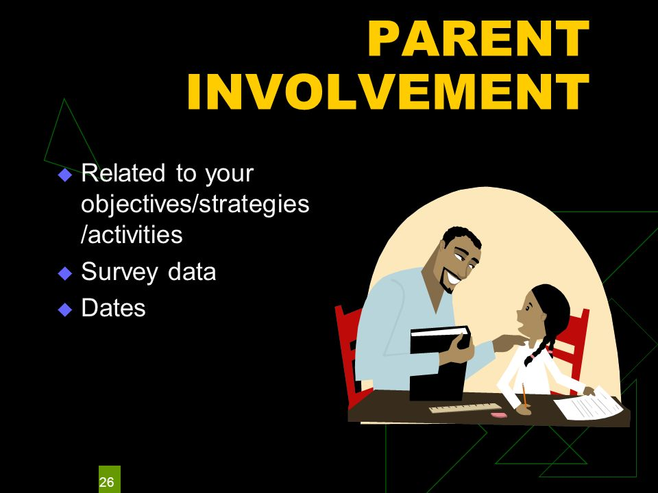 26 PARENT INVOLVEMENT Related to your objectives/strategies /activities Survey data Dates