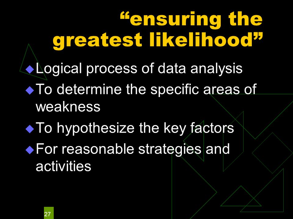 27 ensuring the greatest likelihood Logical process of data analysis To determine the specific areas of weakness To hypothesize the key factors For re